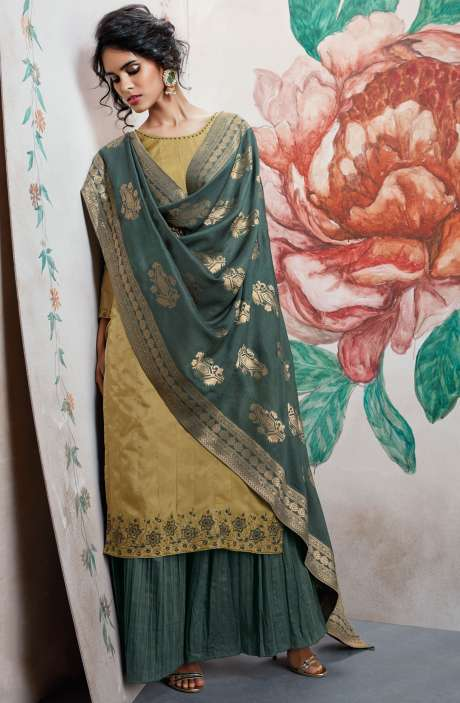 Wedding Wear Designer Satin Silk Sequence, Thread and Zari Work  Suit Sets In Mehndi and Olive Green | HOO6823