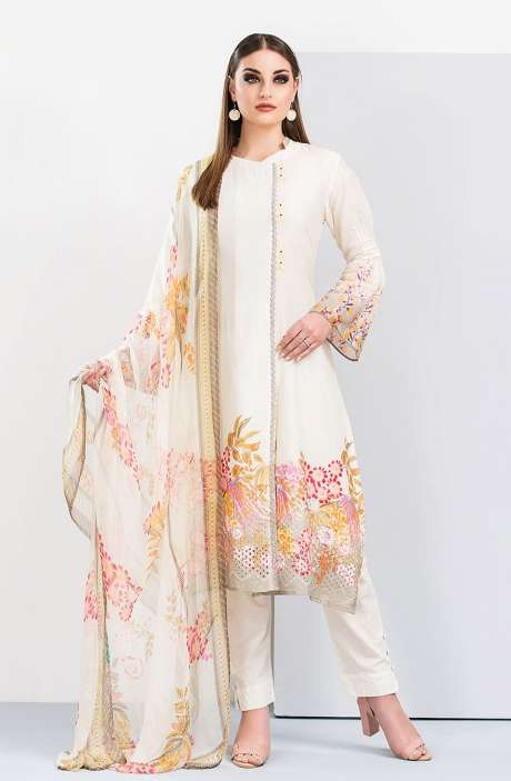 Floral Printed Cotton Cream and Pink Salwar Suit with Cut Work Embroidery - HUM1920