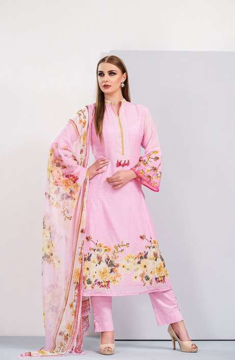 Floral Printed Cotton Pink Salwar Kameez with Cut Work Embroidery - HUM1921