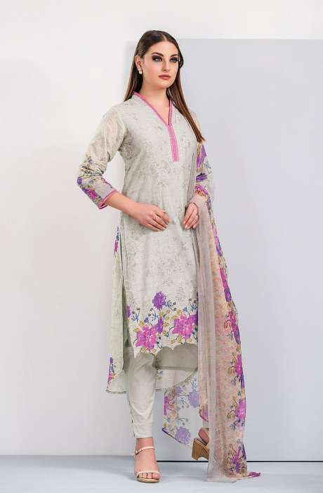 Floral Printed Cotton Green and Magenta Salwar Suit with Cut Work Embroidery - HUM1922