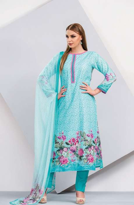 Floral Printed Cotton Bottle Green and Magenta Salwar Suit with Cut Work Embroidery - HUM1923