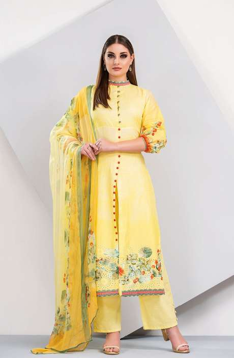 Floral Printed Cotton Yellow and Green Salwar Suit with Cut Work Embroidery - HUM1924