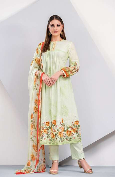 Floral Printed Cotton Pista Green Salwar Suit with Cut Work Embroidery - HUM1925