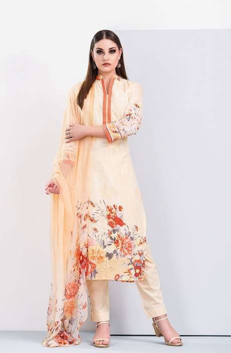 Floral Printed Cotton Beige and Red Salwar Suit with Cut Work Embroidery - HUM1926