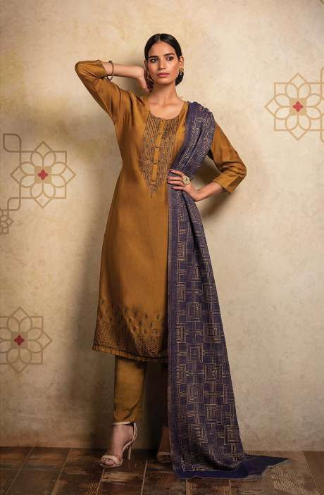 Pure Pashmina Exclusive Designer Semi-stitched Salwar Suit In Mustard - HUM8489