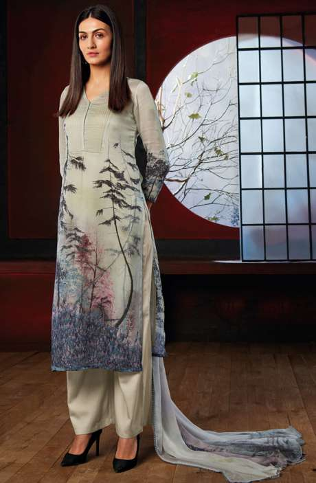Designer Floral Digital Print Crepe and Glazed Cotton Suit Sets In Multicolor - IKI6802