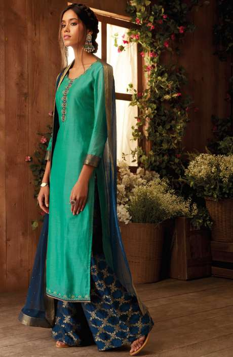 Party Wear Modal Cotton and Silk Salwar Suit with Zari and Sequence Work In Green and Blue - IMM6403-RE