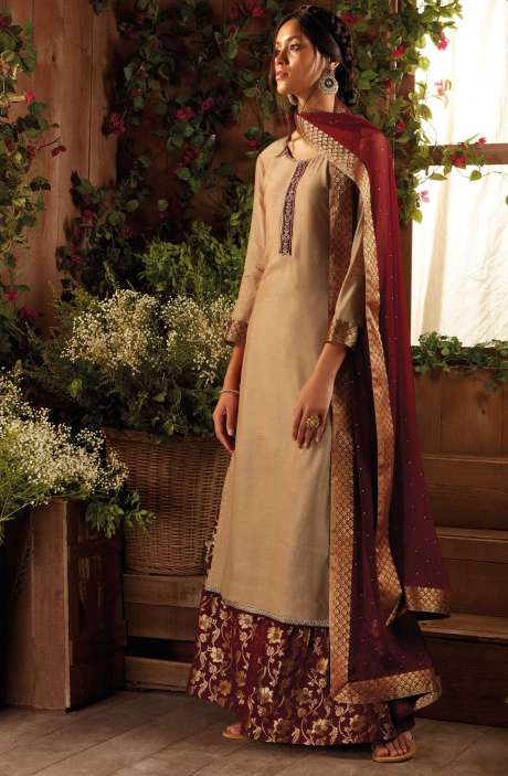 Party Wear Modal Cotton and Silk Salwar Suit with Zari and Sequence Work In Beige and Maroon - IMM6406