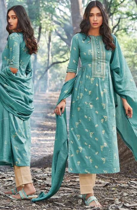 Cotton Foil Prints Salwar Suit Sets with Silk Dupatta in Firozi - INA5123