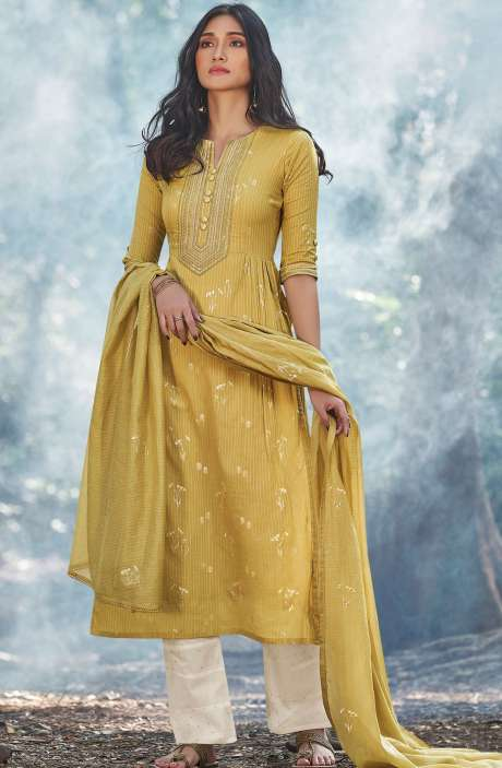 Cotton Foil Prints Salwar Suit Sets with Silk Dupatta in Mehndi - INA5125