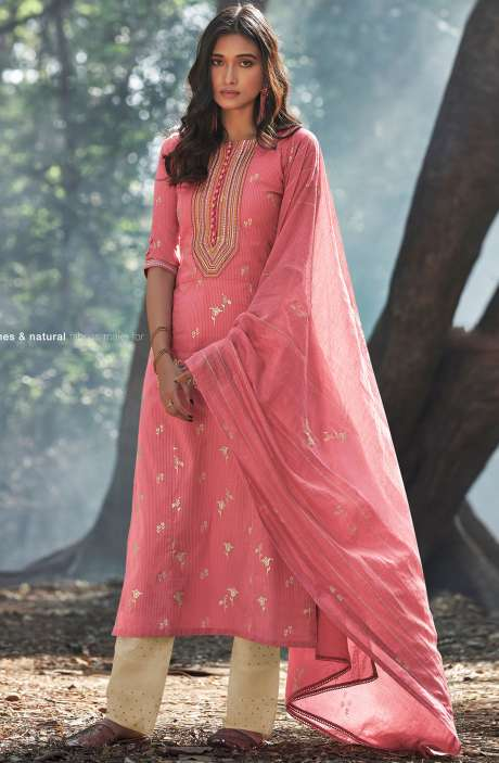 Cotton Foil Prints Salwar Suit Sets with Silk Dupatta in Pink - INA5127