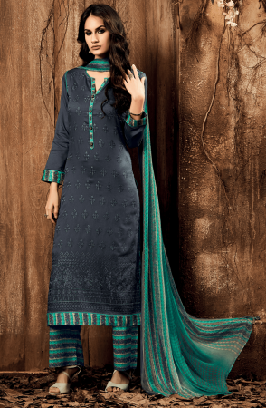 Cotton Satin Lawn Grey and Green Unstitched Salwar Kameez - ING02