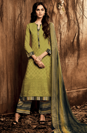 Designer Green Ready to Stitch Cotton Satin Lawn Salwar Suit - ING04