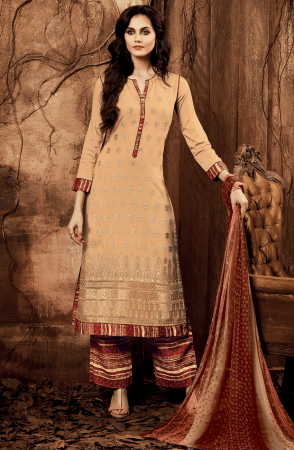 Stylish Beige and Red Cotton Satin Lawn Unstitched Embroidered Salwar Suit - ING08