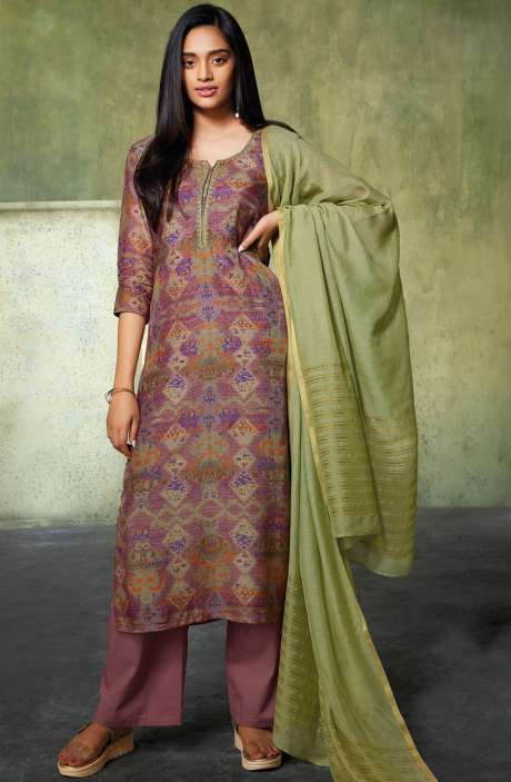 Uppada Chanderi Abstract Digital Print Salwar Suit In Multi and Mauve - INA6652R
