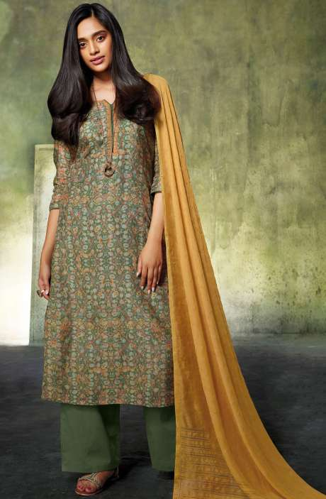 Uppada Chanderi Abstract Digital Print Salwar Kameez In Multi and Olive Green - INA6655
