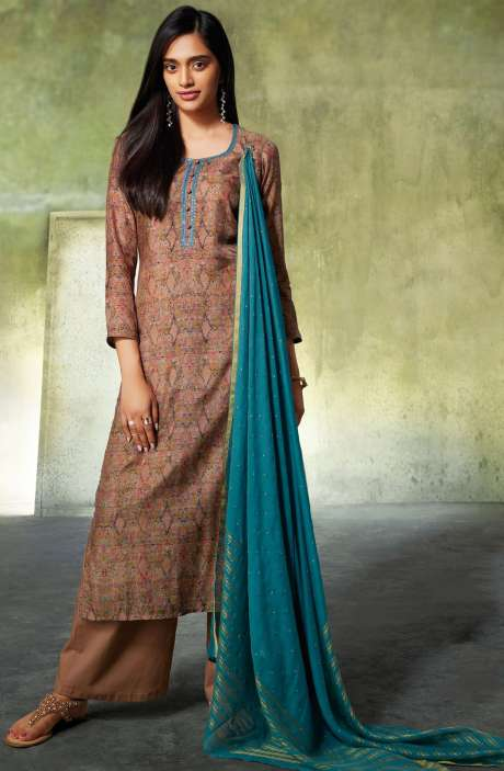 Uppada Chanderi Abstract Digital Print Salwar Kameez In Multi and Brown - INA6657R
