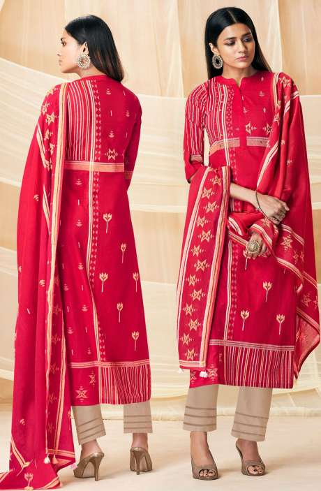 Cotton Ready-to-Stitch Khadi Printed Rose Red & Beige Salwar Kameez - INT4744