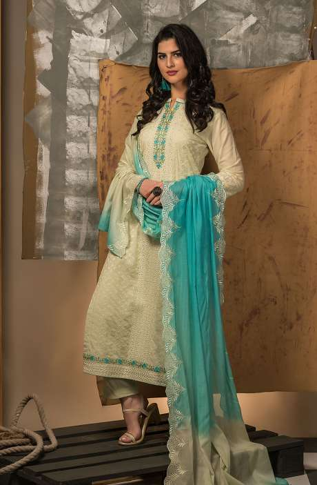 Beautiful Embroidery Exclusive Pure Cotton Salwar Kameez Set in Lime - INT5391