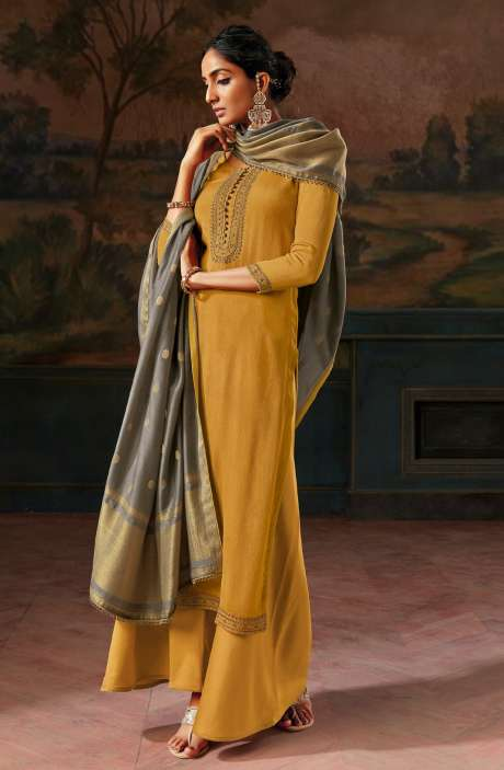 Pure Satin Silk Beautiful Festivewear Salwar Kameez In Mustard with Banarasi Silk Dupatta - IPSC0085