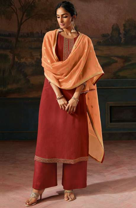 Pure Satin Silk Beautiful Festivewear Salwar Kameez In Rust with Banarasi Silk Dupatta - IPSC0087