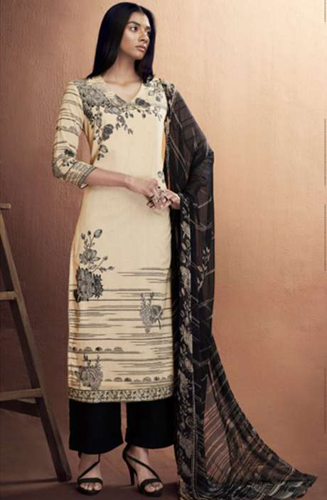 Cotton Digital Printed Summer Suit Set in Cream & Black - IRIC0283