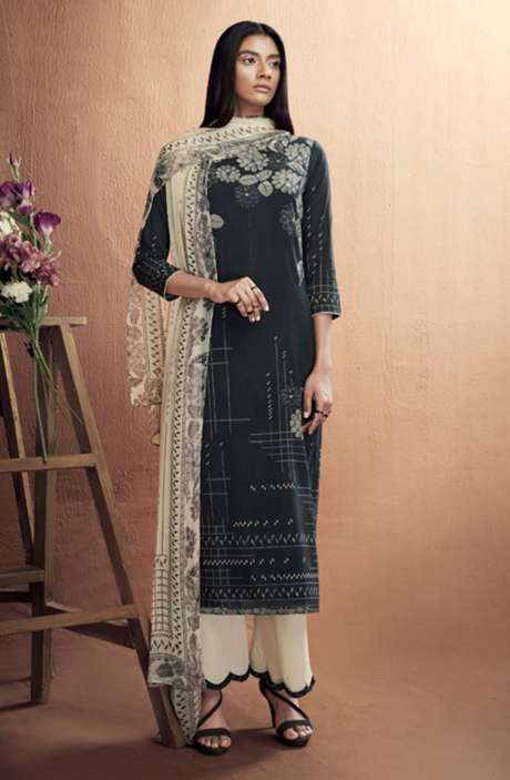 Cotton Digital Printed Summer Suit Set in Black & Cream - IRIC0284