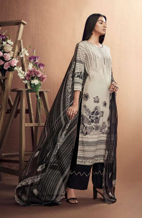 Cotton Digital Printed Summer Suit Set in Cream & Black - IRIC0285