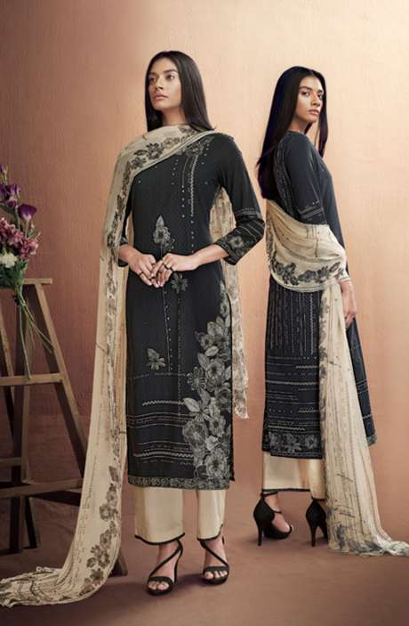 Cotton Digital Printed Summer Suit Set in Black & Cream - IRIC0286
