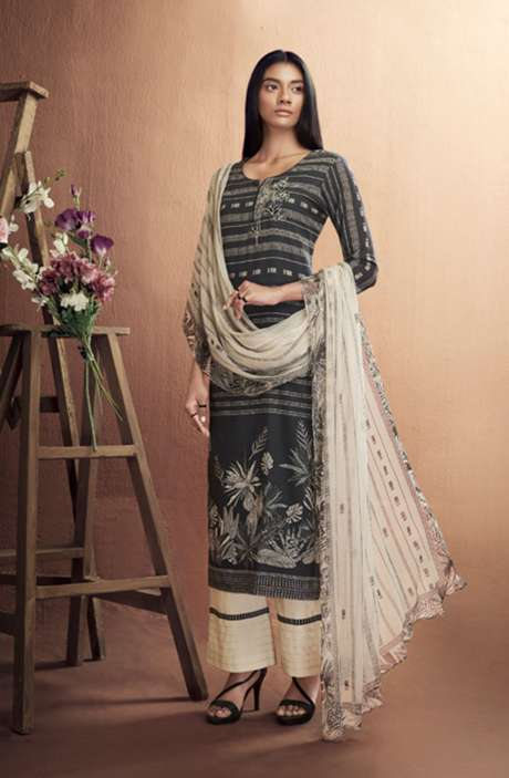Cotton Digital Printed Summer Suit Set in Black & Cream - IRIC0287