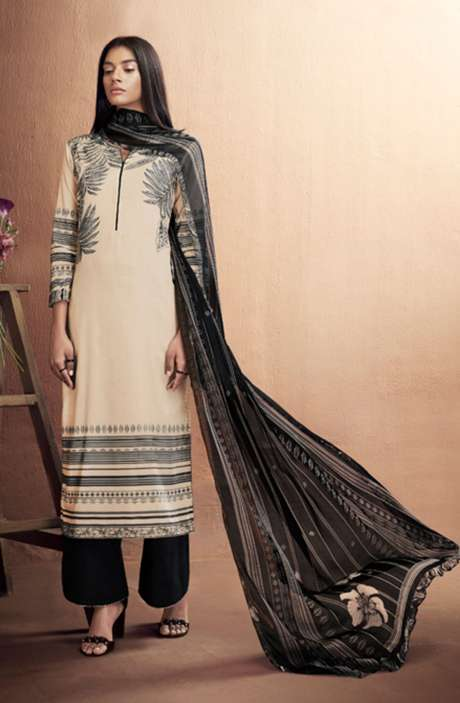 Cotton Digital Printed Summer Suit Set in Cream & Black - IRIC0288