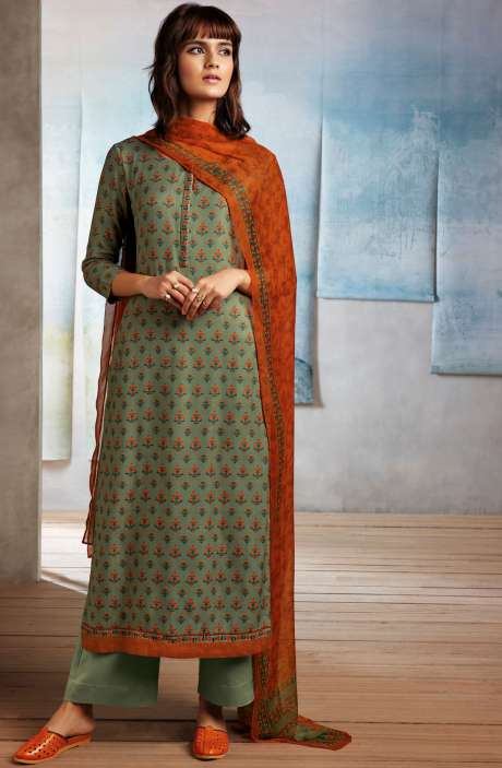 Spun Dobby Printed Winter Salwar Kameez In Olive Green - ISL8239