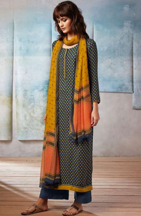 Spun Dobby Printed Winter Salwar Kameez In Navy Blue - ISL8241