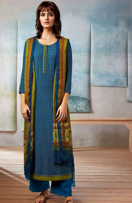 Spun Dobby Printed Winter Salwar Kameez In Blue - ISL8242R