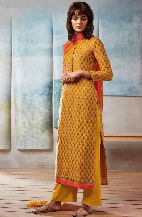 Spun Dobby Printed Winter Salwar Kameez In Mustard Yellow - ISL8243