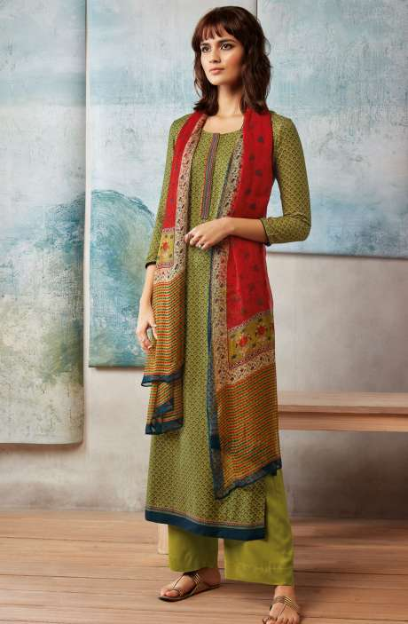 Spun Dobby Printed Winter Salwar Kameez In Mehndi Green - ISL8244-R