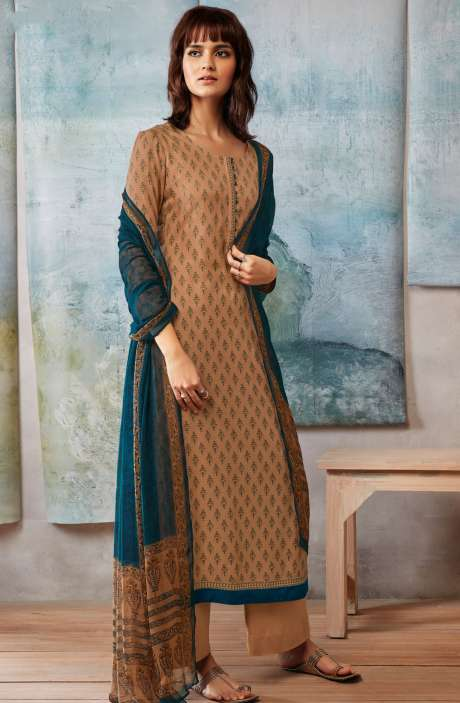 Spun Dobby Printed Winter Salwar Kameez In Brown - ISL8245