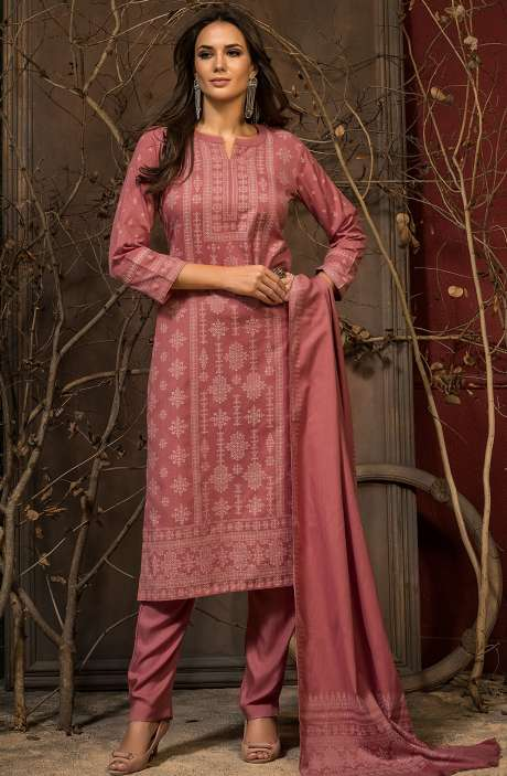 Spun Winter Wear Unstitched Weaving Salwar Kameez In Peach - JAM5040