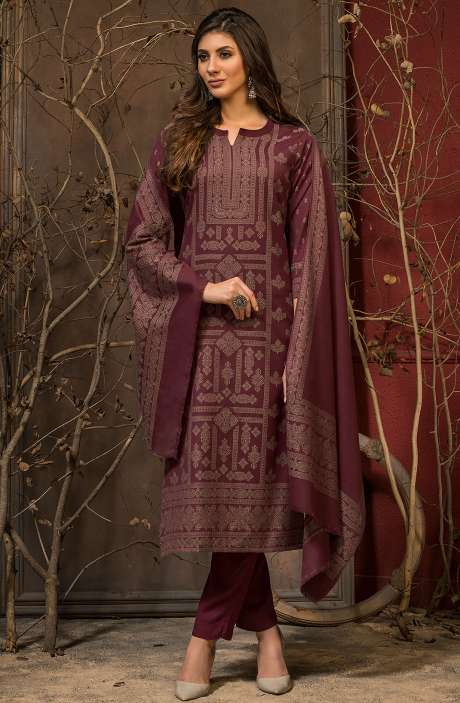Spun Winter Wear Unstitched Weaving Salwar Kameez In Maroon - JAM5041