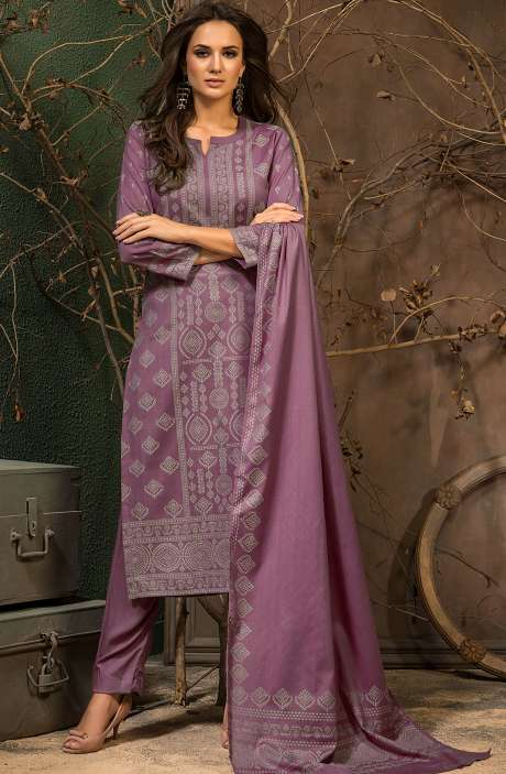 Spun Winter Wear Unstitched Weaving Salwar Kameez In Mauve - JAM5042