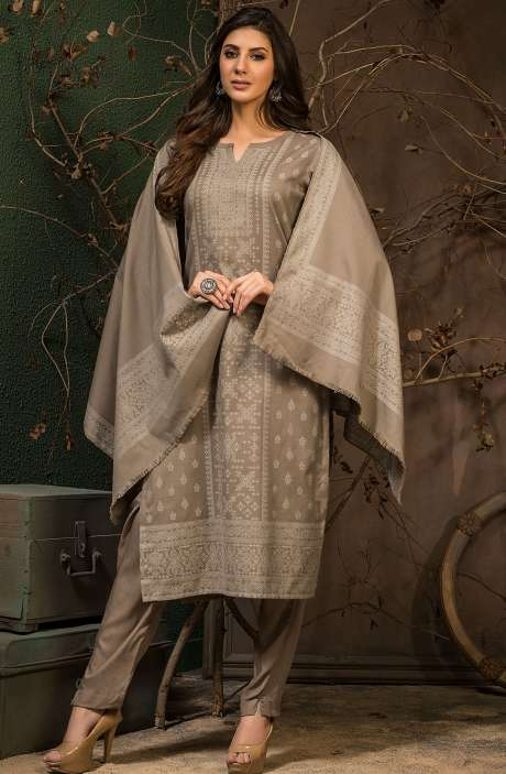 Spun Winter Wear Unstitched Weaving Salwar Kameez In Brown - JAM5043