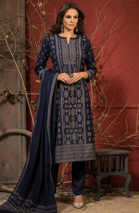 Spun Winter Wear Unstitched Weaving Salwar Kameez In Blue - JAM5044