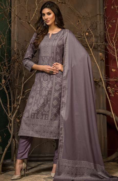 Spun Winter Wear Unstitched Weaving Salwar Kameez In Grey - JAM5045