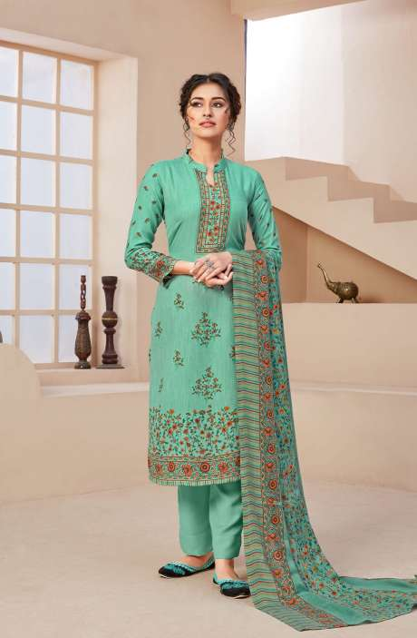 Spun Printed Unstitched Salwar Kameez In Turquoise - JAN3206B