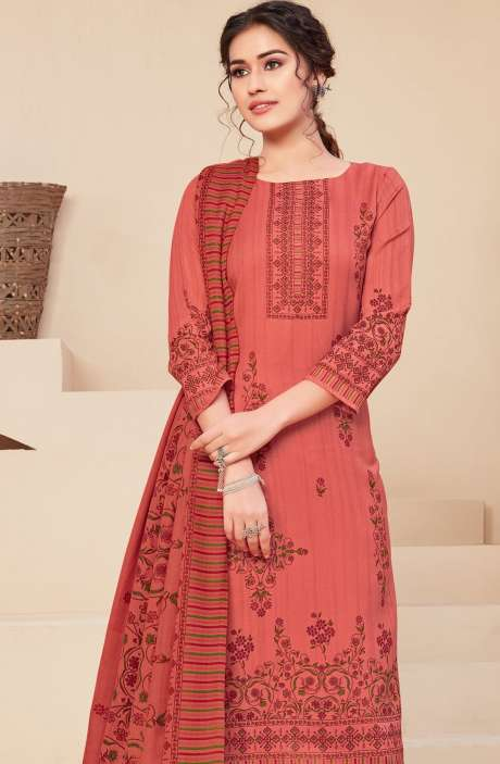 Spun Printed Unstitched Salwar Kameez In Coral - JAN3207A