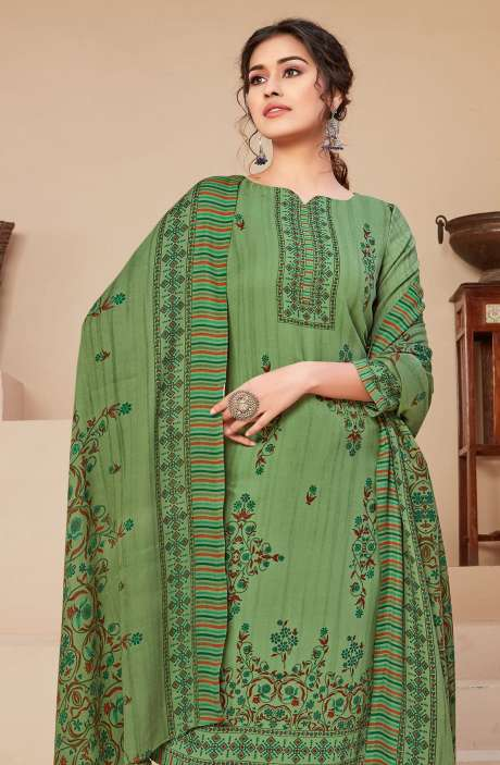 Spun Printed Unstitched Salwar Kameez In Green - JAN3207B