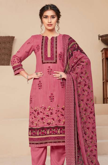 Spun Printed Unstitched Salwar Kameez In Pink - JAN3209A