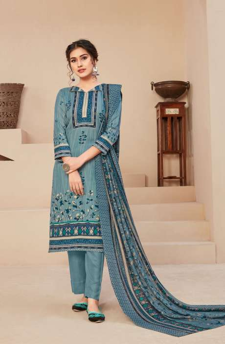 Spun Printed Unstitched Salwar Kameez In Pastel Blue - JAN3209B