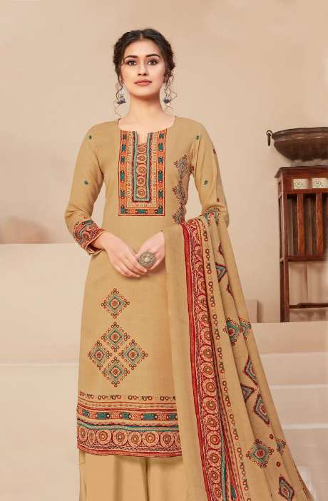 Spun Printed Unstitched Salwar Kameez In Beige - JAN3210A