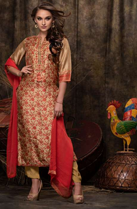 Wedding Collection Beautiful Digital Print with Embellished Chanderi Salwar Suit Sets In Brown and Red - JAS2480-R